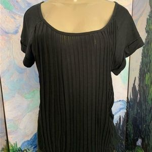 Jessica Simpson Black Pleated Front Crop Back Top